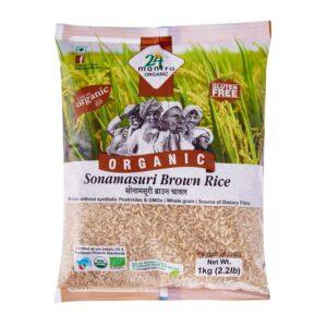 24 Mantra Organic Sonamasuri Raw Rice Brown-1 Kg